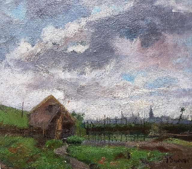 Jacob Maris | Landscape near The Hague, oil on canvas laid down on panel, 21.1 x 23.8 cm, signed l.r. and painted ca. 1878