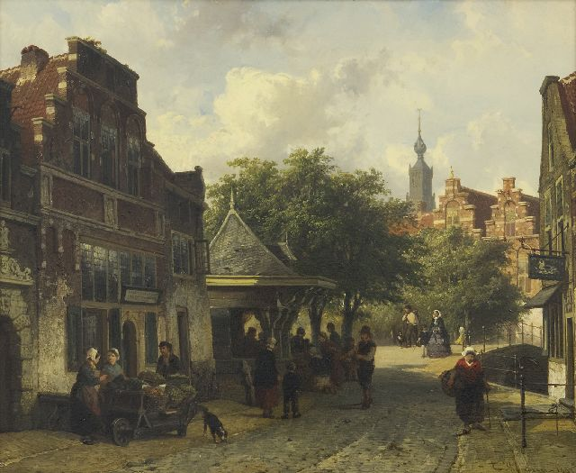 Springer C.  | A view of Oudewater, oil on panel 33.5 x 40.5 cm, signed l.r. in full and l.l. with monogram and dated l.r. 1857 and l.l. '57