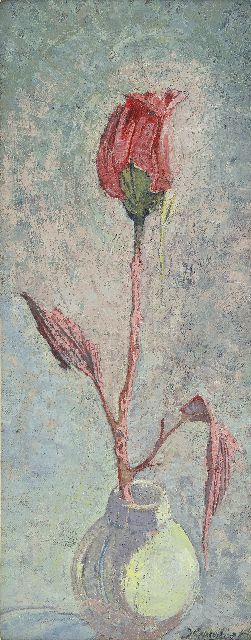 Cambier J.Z.  | A rose in a vase, oil on canvas laid down on board 40.1 x 16.6 cm, signed l.r.