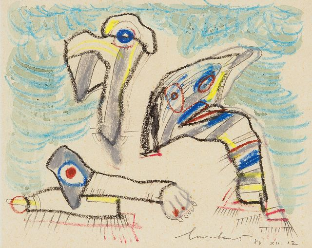 Lucebert | Three creatures, pencil, chalk and watercolour on paper, 20.9 x 26.7 cm, signed l.r. and dated 84.XII.12
