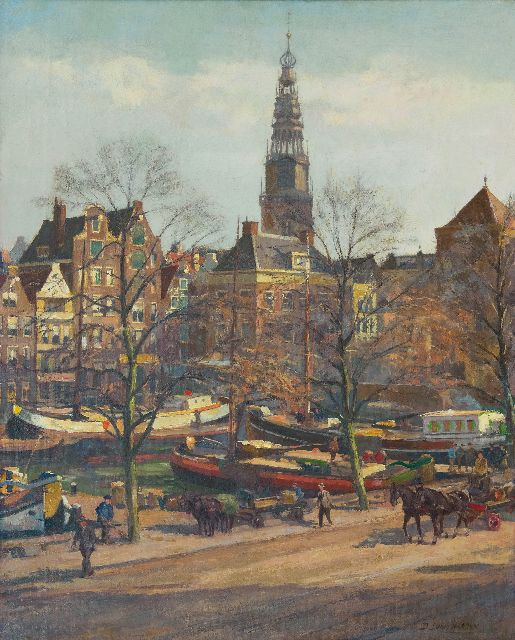 Dirk van Haaren | A view of Amsterdam with the tower of the Oude Kerk, oil on canvas, 58.1 x 47.0 cm, signed l.r.