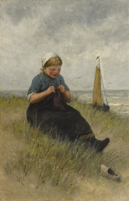 David Artz | Young girl knitting in the dunes, oil on canvas, 54.3 x 36.1 cm, signed l.l.
