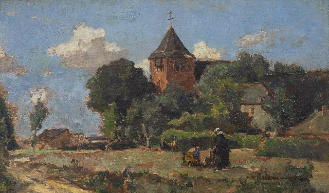 Johannes Evert Hendrik Akkeringa | The church of Heelsum, oil on panel, 13.4 x 22.1 cm, signed l.r.