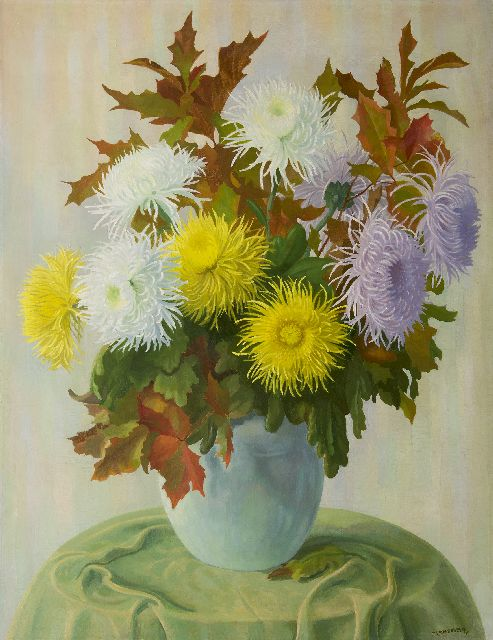 Dirk Smorenberg | Spider mums, oil on canvas, 116.2 x 90.0 cm, signed l.r.
