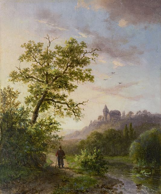 Klombeck J.B.  | Rhinelandscape in summer, oil on panel 16.3 x 13.5 cm, signed l.l. and dated 1842