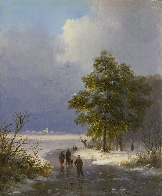 Klombeck J.B.  | Winter landscape, oil on panel 16.4 x 13.5 cm, signed l.l. and dated 1842