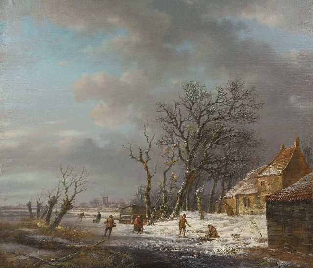 Andreas Schelfhout | Winter landscape with skaters and a washerwoman at an ice hole, oil on panel, 37.0 x 43.1 cm, signed l.l. and painted ca. 1820