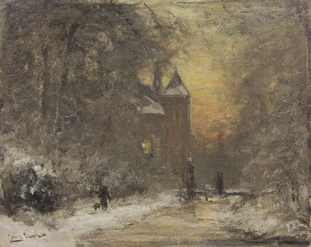 Louis Apol | A winter landscape with a man and his dog near a castle, oil on canvas, 40.5 x 50.4 cm, signed l.l.