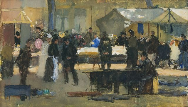 Floris Arntzenius | Fabric market in The Hague, gouache on paper, 29.1 x 49.3 cm, signed l.l.