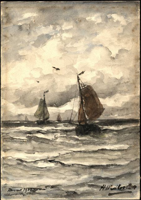 Hendrik Willem Mesdag | Fishing ships at sea, watercolour on painter's board, 26.6 x 18.7 cm, signed l.r. and l.l. l.o.: 'Avond' 1901