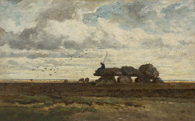 Roelofs W.  | The dolmen of Tynaarlo, Drenthe, oil on panel 28.9 x 46.2 cm, signed l.r. with initials and painted ca. 1863-1870