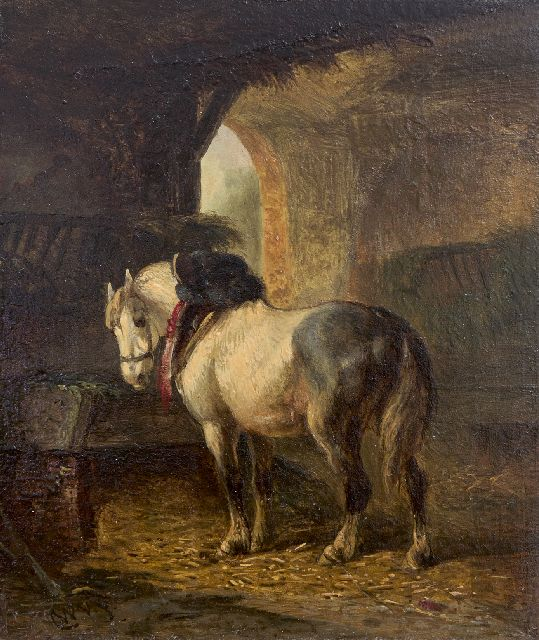 Wouterus Verschuur | In the stable, oil on panel, 13.3 x 11.0 cm, signed l.l. with initials and dated on a label on the reverse '71