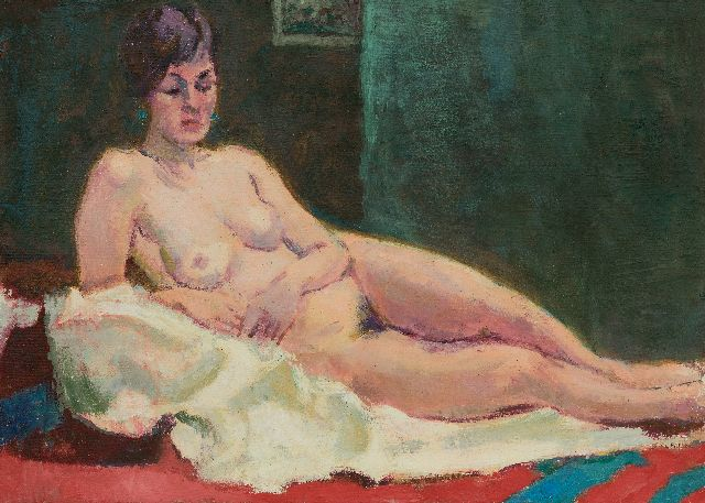 Altink J.  | Lying nude, oil on canvas 49.9 x 70.4 cm