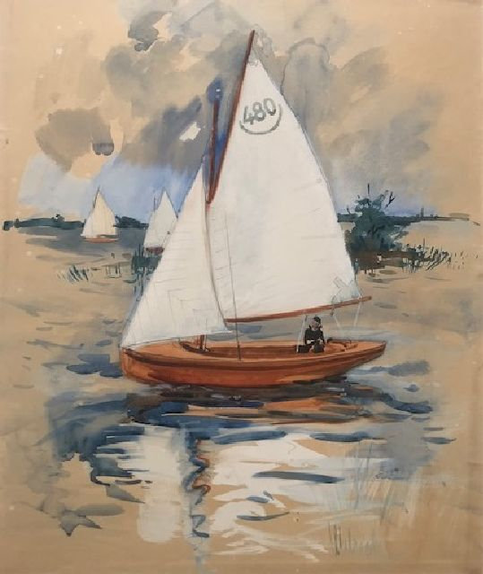 Walrecht B.H.D.  | Sailing on the paterswoldsemeer, Groningen, oil on canvas 46.2 x 38.2 cm, signed l.r.