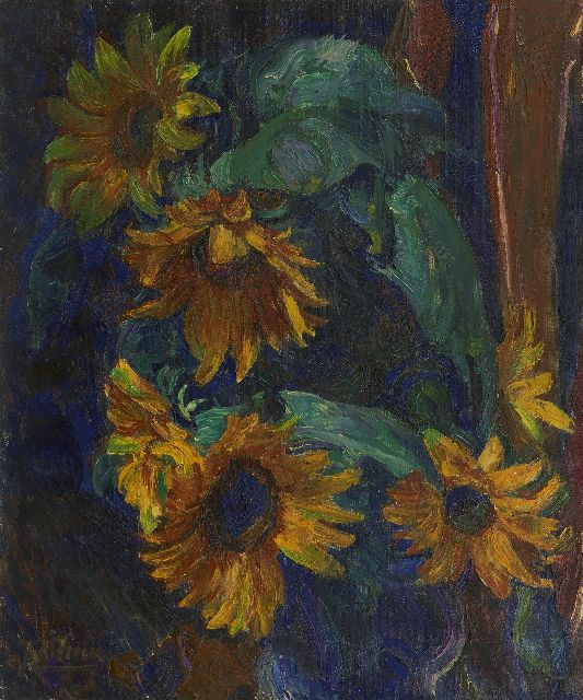 Altink J.  | Sunflowers, oil on canvas 56.5 x 46.5 cm, signed l.l.