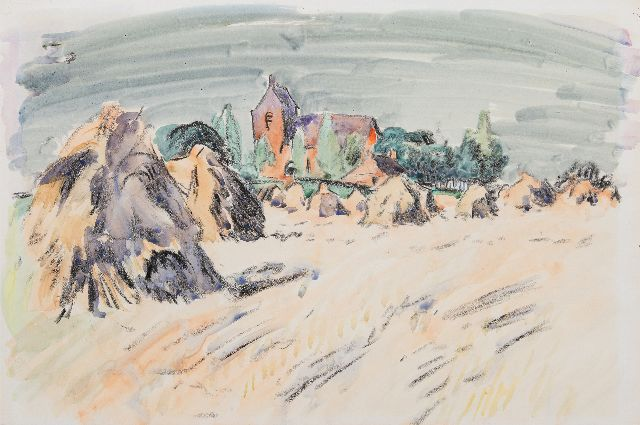 Altink J.  | A summer landscape with the church of Oostum, chalk and watercolour on paper 41.2 x 59.7 cm