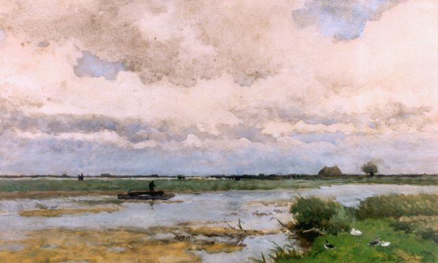 Jan Hendrik Weissenbruch | A barge in a polder landscape, watercolour on paper, 30.0 x 60.0 cm
