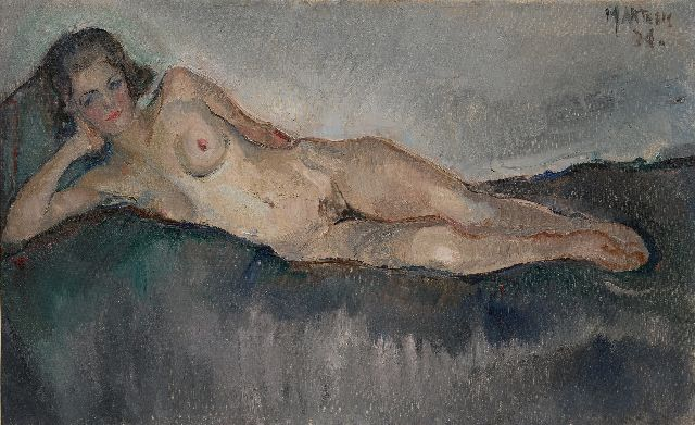 George Martens | Reclining nude, oil on canvas, 38.2 x 61.6 cm, signed u.r. and dated '34