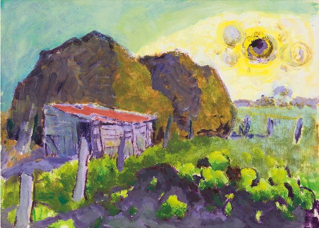Altink J.  | Farmyard in summer, oil on paper 48.2 x 67.2 cm