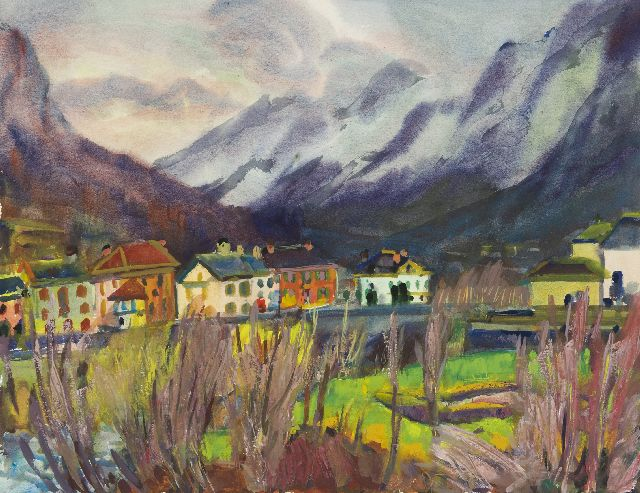 Jannes de Vries | Bignasco in the Maggia valley, Italy, watercolour and gouache on paper, 55.8 x 73.0 cm