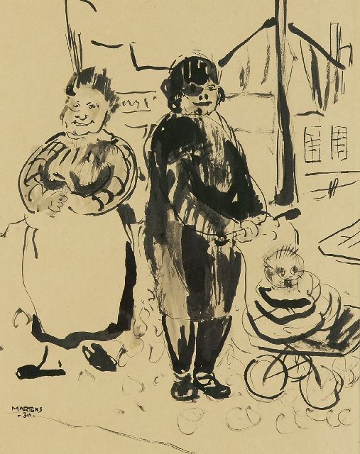 George Martens | Two women and a pram, ink on paper, 26.0 x 21.2 cm, signed l.l. and dated '34
