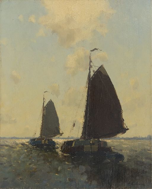 Egnatius Ydema | Barges sailing on the lake, oil on canvas, 50.3 x 40.4 cm, signed l.r.