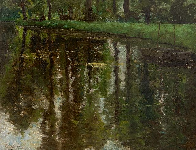 Ed Becht | Pond in the Haagse Bos, The Hague, oil on board laid down on panel, 27.0 x 35.1 cm, signed l.l.