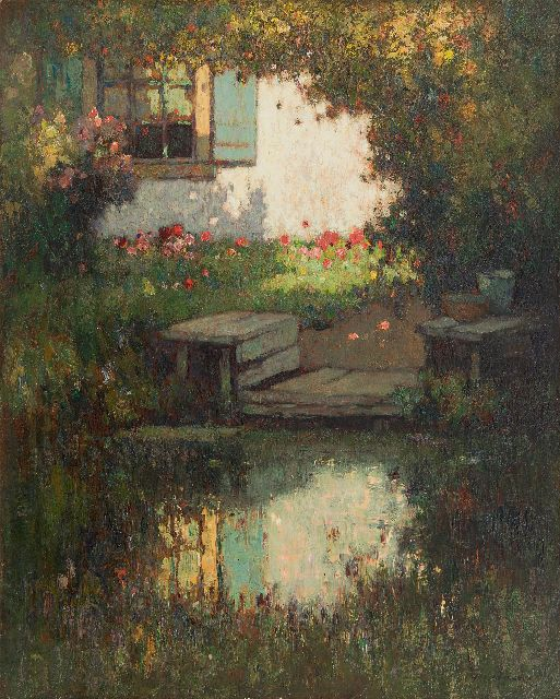 Knikker A.  | A summer garden, oil on canvas 50.5 x 40.7 cm, signed l.r.