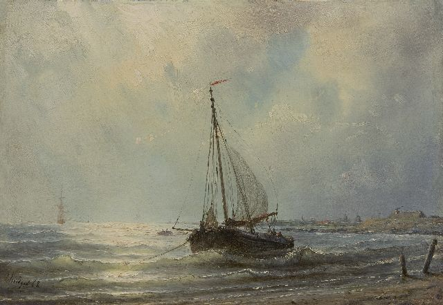 Petrus Paulus Schiedges | Anchored along the coast, oil on panel, 23.0 x 33.2 cm, signed l.l. and dated '62