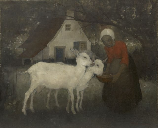 Jemmy van Hoboken | Feeding the goats, oil on canvas, 36.1 x 43.8 cm, signed l.r. and dated '34