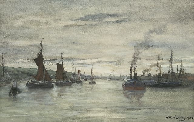 Mesdag H.W.  | Inner harbour Scheveningen, watercolour on paper 34.4 x 51.9 cm, signed l.r. and dated 1900