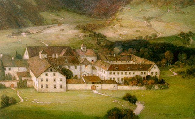 Jan Bogaerts | Monastery, Echternach, oil on canvas, 40.2 x 65.5 cm, signed l.r. and dated 1936