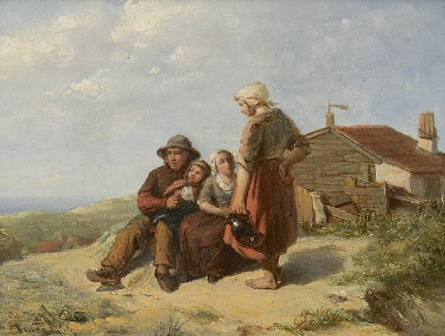 Johannes Martinus de Bus | A fisherman and his family in the dunes, oil on panel, 12.7 x 16.6 cm, signed l.l.