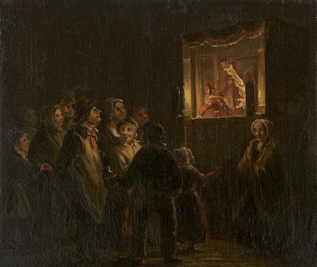 Christoffel Albertus Vos | The puppet show, oil on panel, 11.8 x 14.2 cm, signed l.r.
