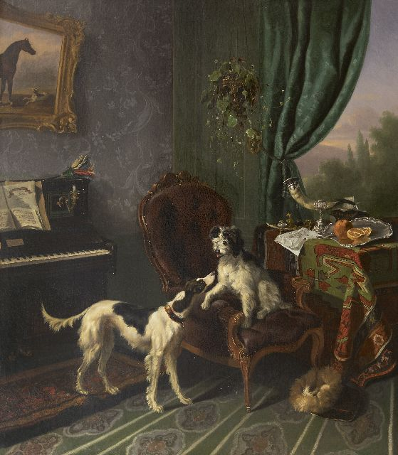 Verschuur W.  | Dogs in an interior, oil on canvas 90.0 x 79.0 cm, painted ca. 1848-1850