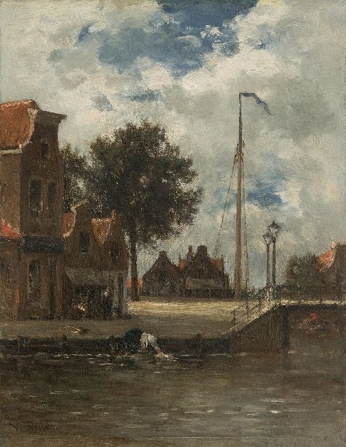 Roelofs W.  | A vilage canal with a woman doing her laundry (possibly Edam), oil on panel 31.5 x 24.5 cm, signed l.l.