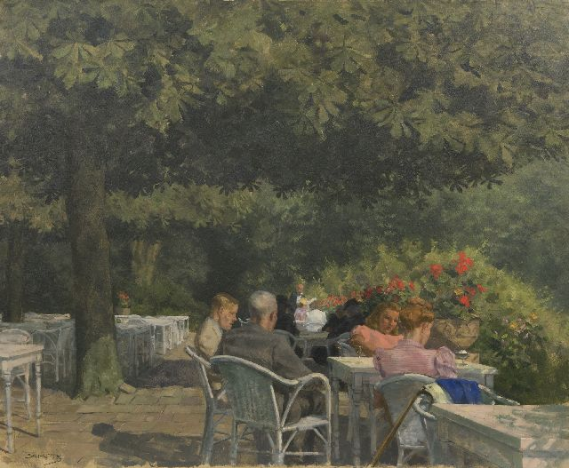 Louis Schutte | A summer day on the terrace, oil on canvas, 77.7 x 94.5 cm, signed l.l.