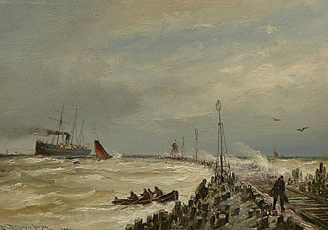 Cornelis Christiaan Dommelshuizen | Shipping near Hoek van Holland, oil on panel, 23.6 x 33.1 cm, signed l.l. and dated 1891