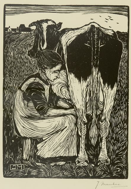 Jan Mankes | Peasant woman milking a cow, woodcut on paper, 22.0 x 16.0 cm, signed l.r.