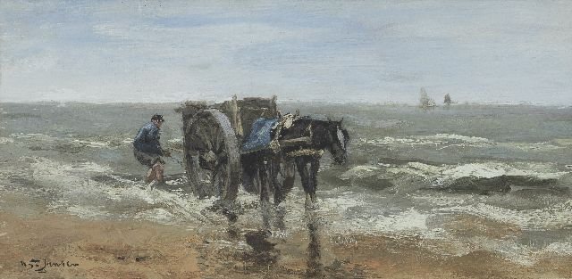 Willem George Frederik Jansen | Shell fisherman on the beach, oil on canvas, 20.2 x 40.4 cm, signed l.l.