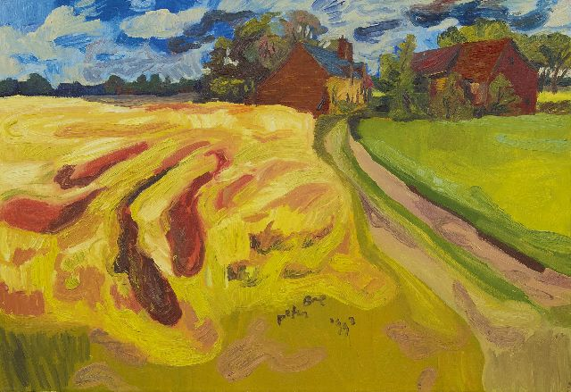 Peter Bol | Cornfield with farms, oil on canvas, 56.3 x 81.2 cm, signed l.r. and dated 1993
