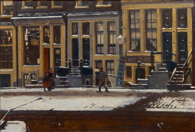 Willem Witsen | The Oude Waal in winter, Amsterdam, oil on panel, 30.3 x 44.3 cm, signed l.r. and painted ca. 1912