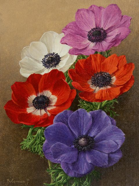 Voerman jr. J.  | Anemones, oil on canvas laid down on board 30.0 x 22.5 cm, signed l.l.
