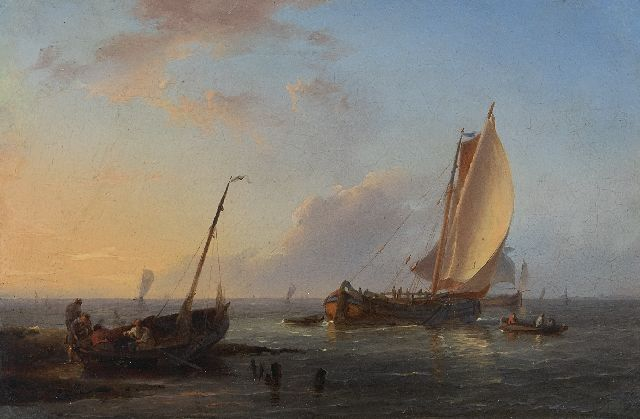 Koekkoek H.  | Sunset on the Dutch coast, oil on tin laid down on panel 9.8 x 14.7 cm, signed l.l. with initials