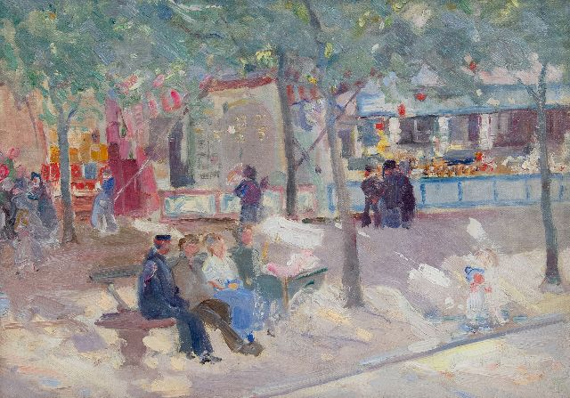 Marcel Jefferys | A day at the fair, oil on canvas laid down on panel, 27.4 x 38.3 cm, signed l.r. with monogram