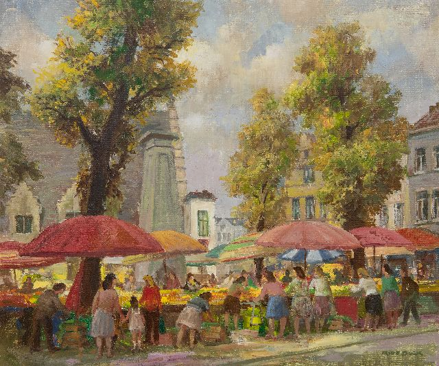Raphaël de Buck | The Groentenmarkt in Ghent (Flanders), oil on canvas, 50.3 x 60.2 cm, signed l.r.