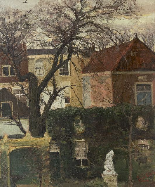 Louis Apol | A view of gardens and houses, possibly the Juffrouw Idastraat, The Hague, oil on canvas, 60.6 x 50.4 cm, signed l.r.