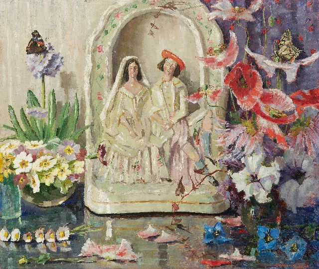 Lucie van Dam van Isselt | Still life with flowers, butterflies and wedding figurine, oil on panel, 45.2 x 53.2 cm, signed r.u.