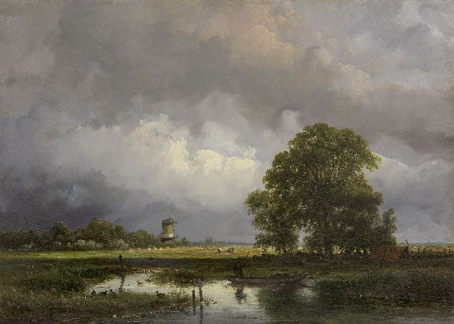 Andreas Schelfhout | An extensive summer landscape, oil on panel, 27.2 x 38.2 cm, signed l.l. and dated 1857