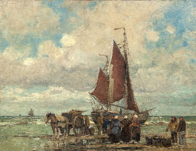 Hambüchen W.  | A fishing barge and fishermen on the beach of katwijk, oil on canvas 60.2 x 80.4 cm, signed l.r.